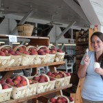 TA Patty Kinsey enjoys peach ice cream at Dickey's Farm, our halfway point to Moultrie.
