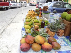 A local fruit stand in downtown St. Thomas