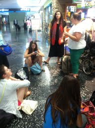 Waiting for hotel vouchers in the Miami airport. Kelly Jones, Mary Macon Price, Rachel Koontz, Holly Smith, Christina Winters