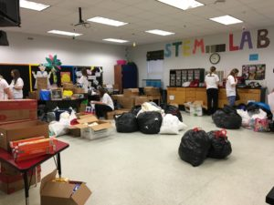 Setting up the donation room at Cox Elementary