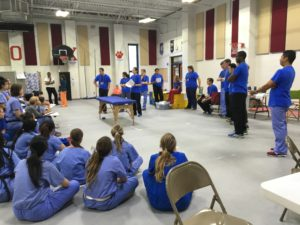 Physical Therapy students demonstrate their skills to the BSN, NP, and Pharmacy students