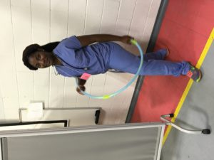 Haja learns how to hula hoop during down-time